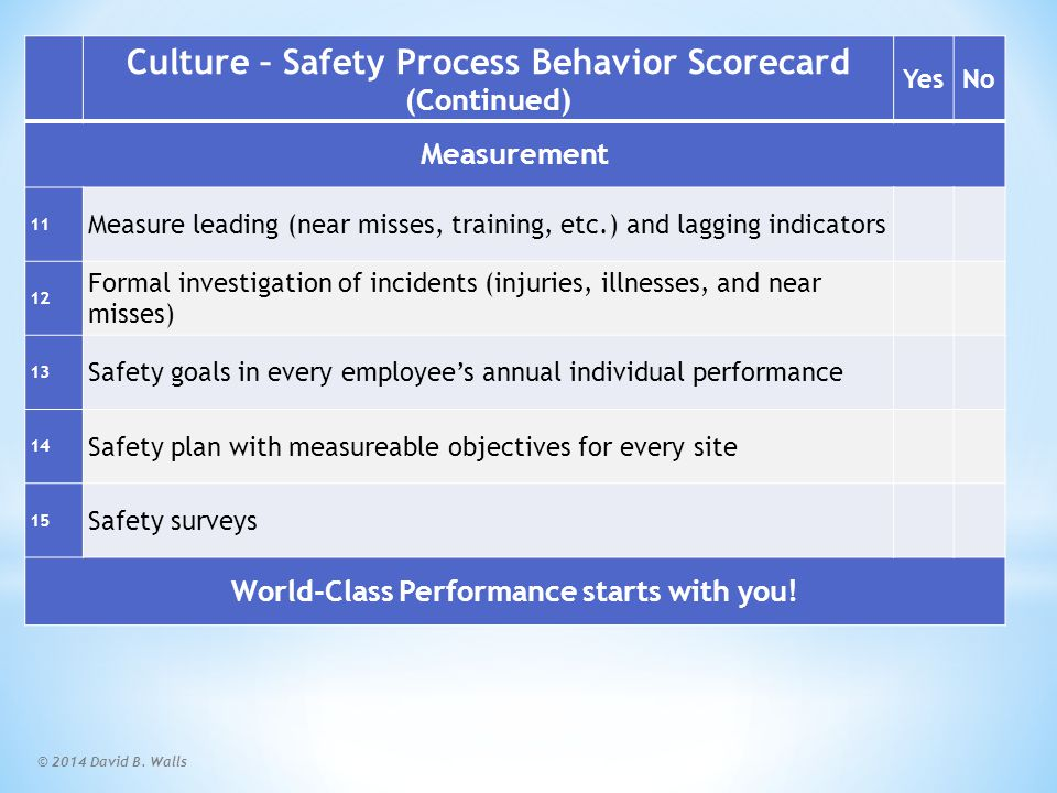 Summary World Class Safety Program