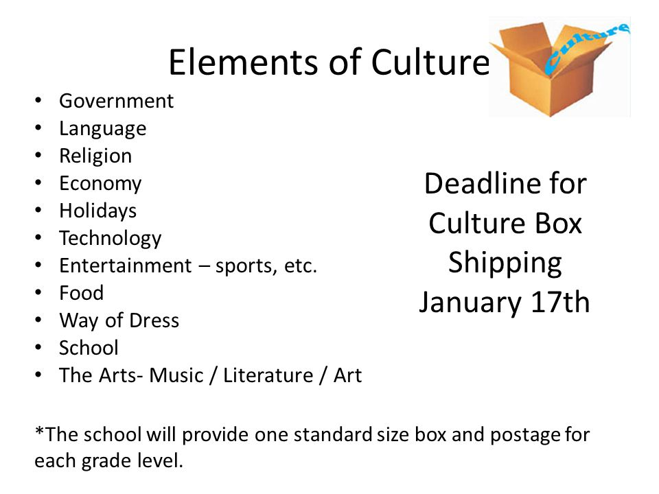 Deadline for Culture Box Shipping