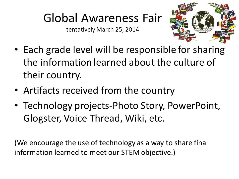 Global Awareness Fair tentatively March 25, 2014