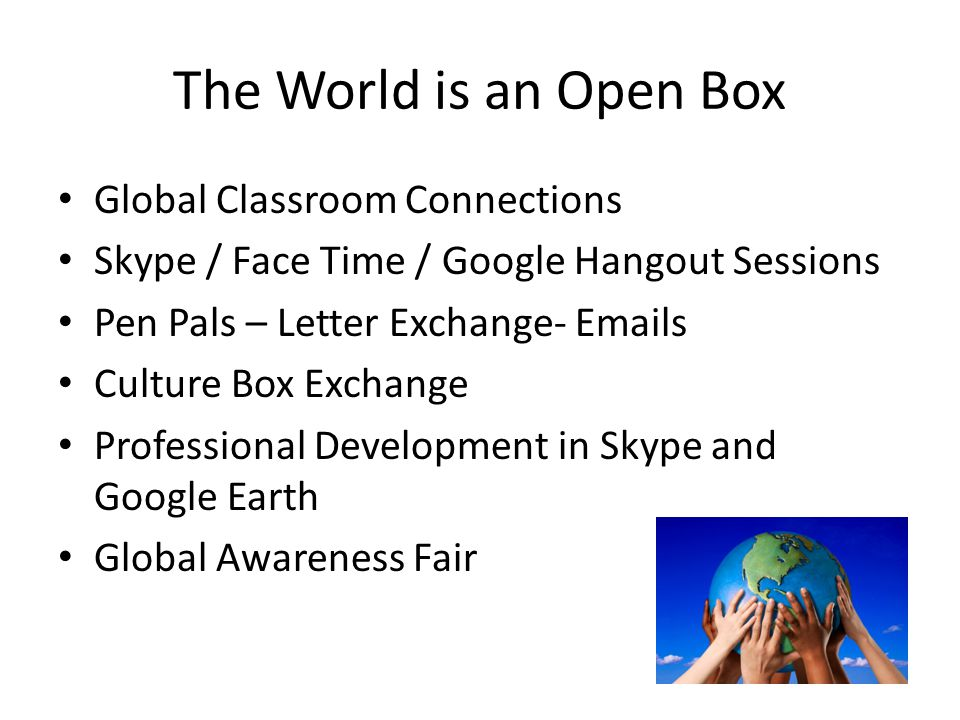The World is an Open Box Global Classroom Connections