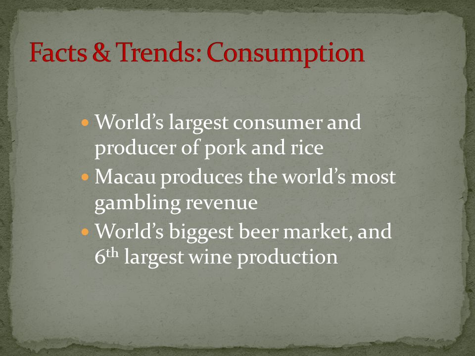 Facts & Trends: Consumption