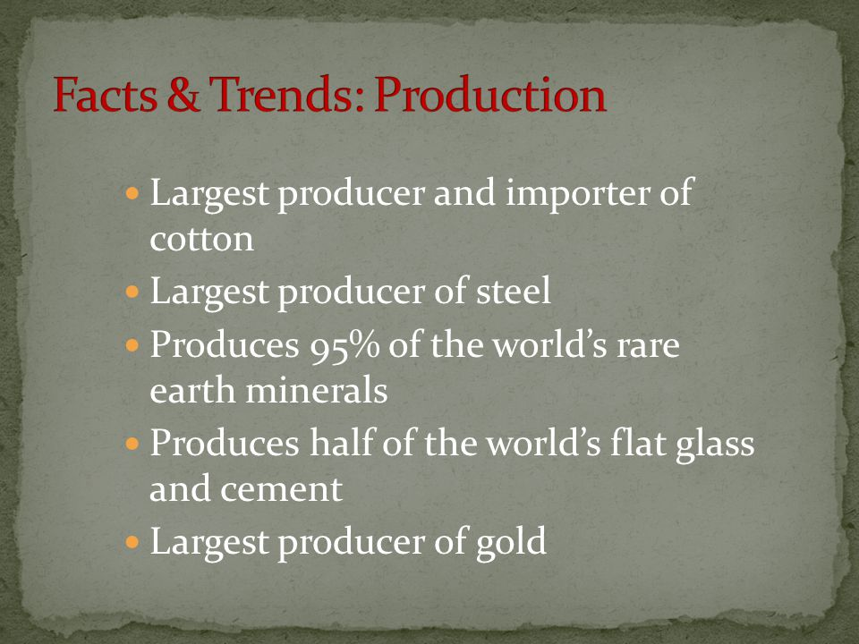 Facts & Trends: Production