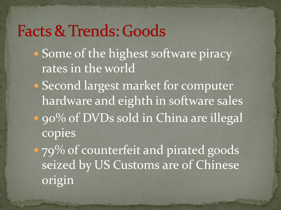 Facts & Trends: Goods Some of the highest software piracy rates in the world.