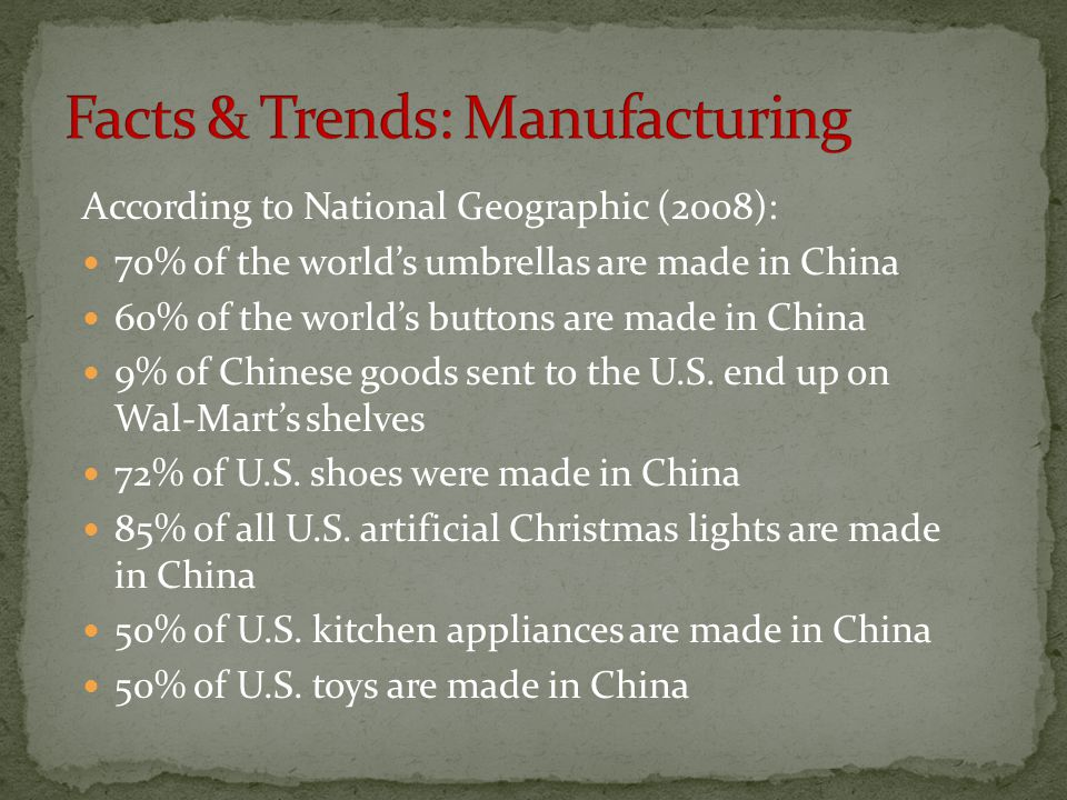 Facts & Trends: Manufacturing