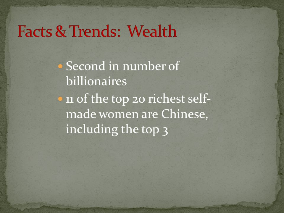 Facts & Trends: Wealth Second in number of billionaires