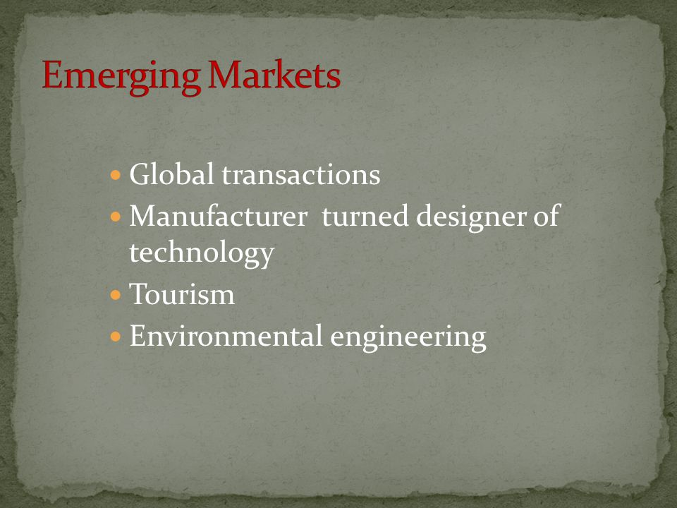 Emerging Markets Global transactions