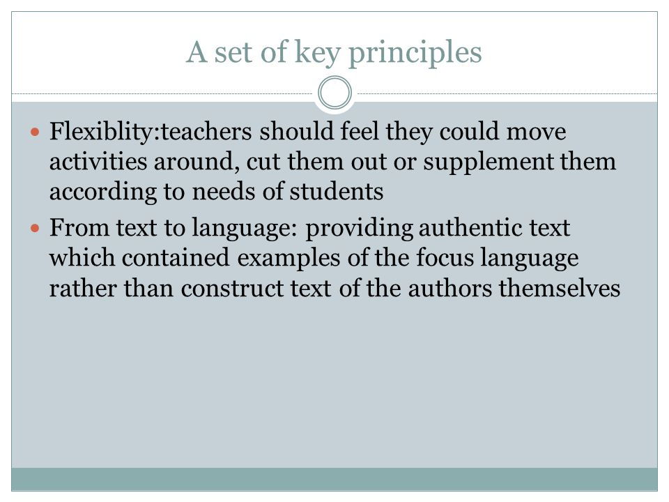 A set of key principles