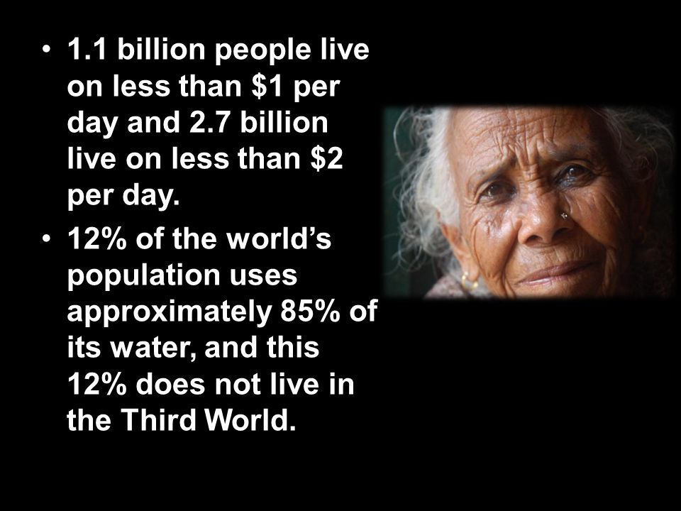 1. 1 billion people live on less than $1 per day and 2