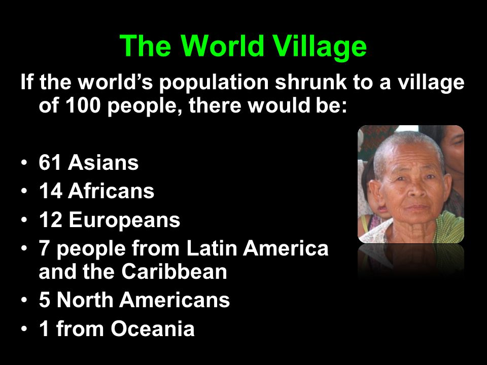 The World Village If the world's population shrunk to a village of 100 people, there would be: 61 Asians.