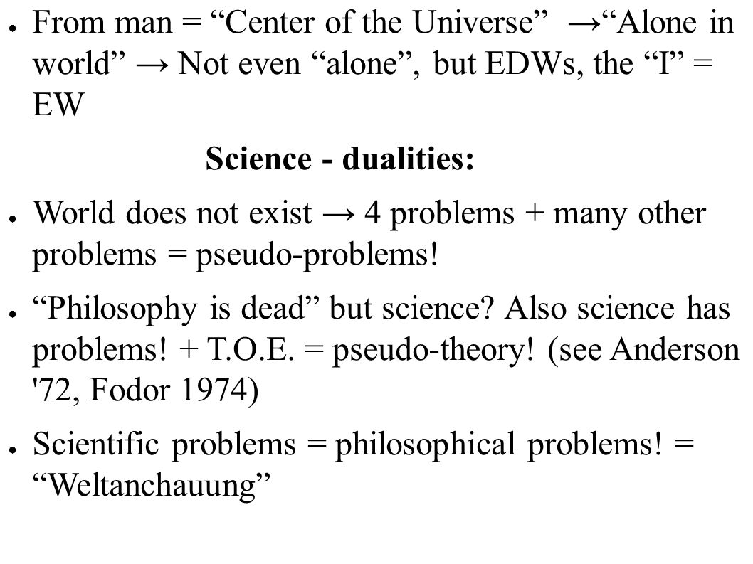 From man = Center of the Universe → Alone in world → Not even alone , but EDWs, the I = EW
