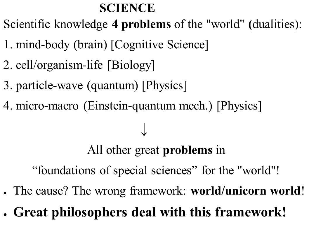 ↓ Great philosophers deal with this framework! SCIENCE