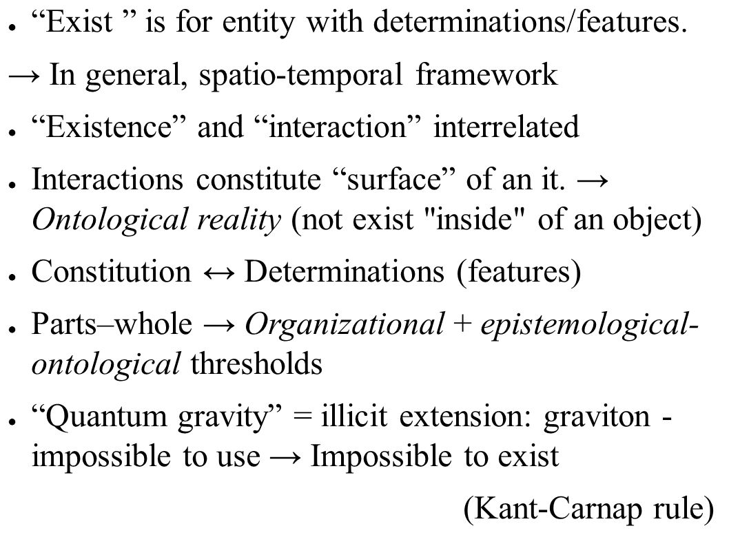 Exist is for entity with determinations/features.