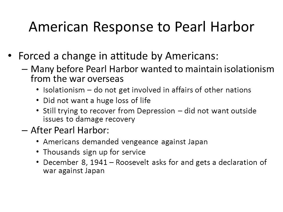 American Response to Pearl Harbor