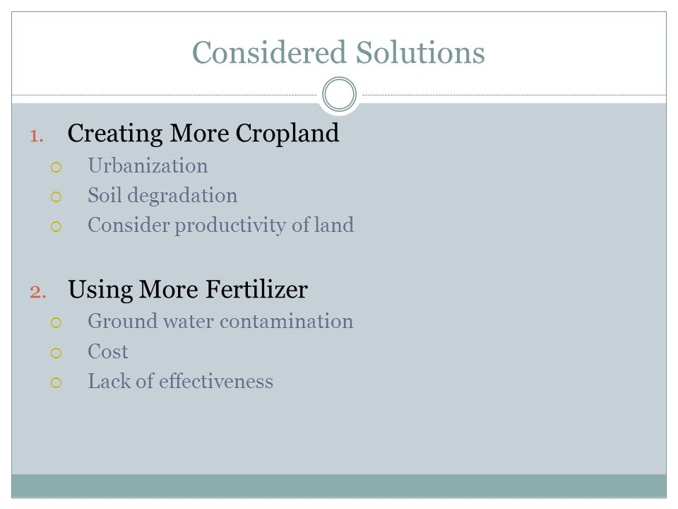 Considered Solutions Creating More Cropland Using More Fertilizer