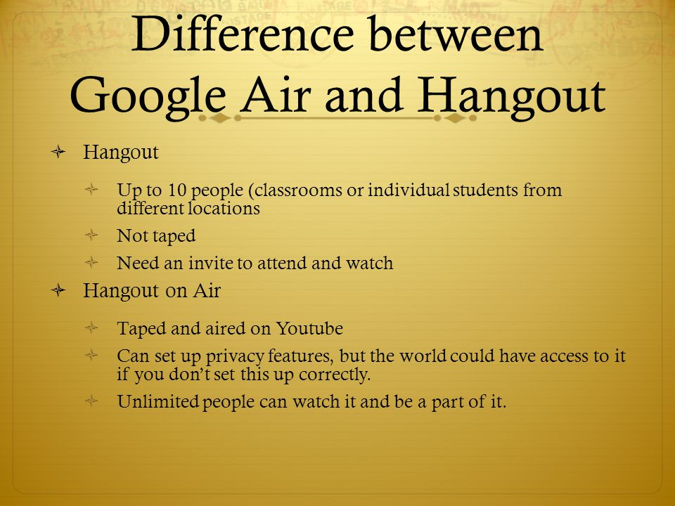 Difference between Google Air and Hangout
