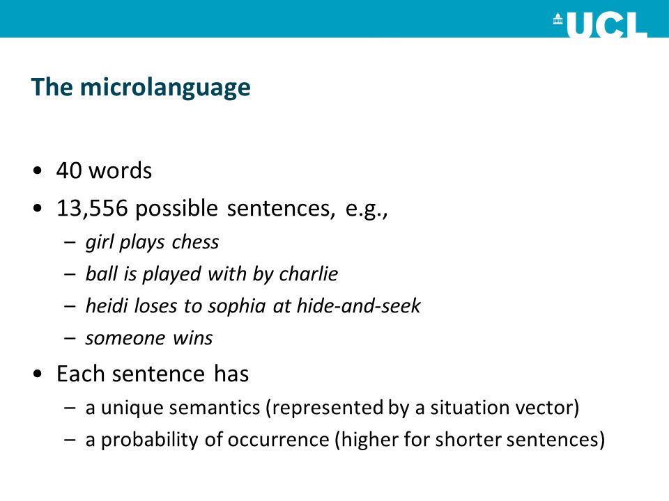 The microlanguage 40 words 13,556 possible sentences, e.g.,