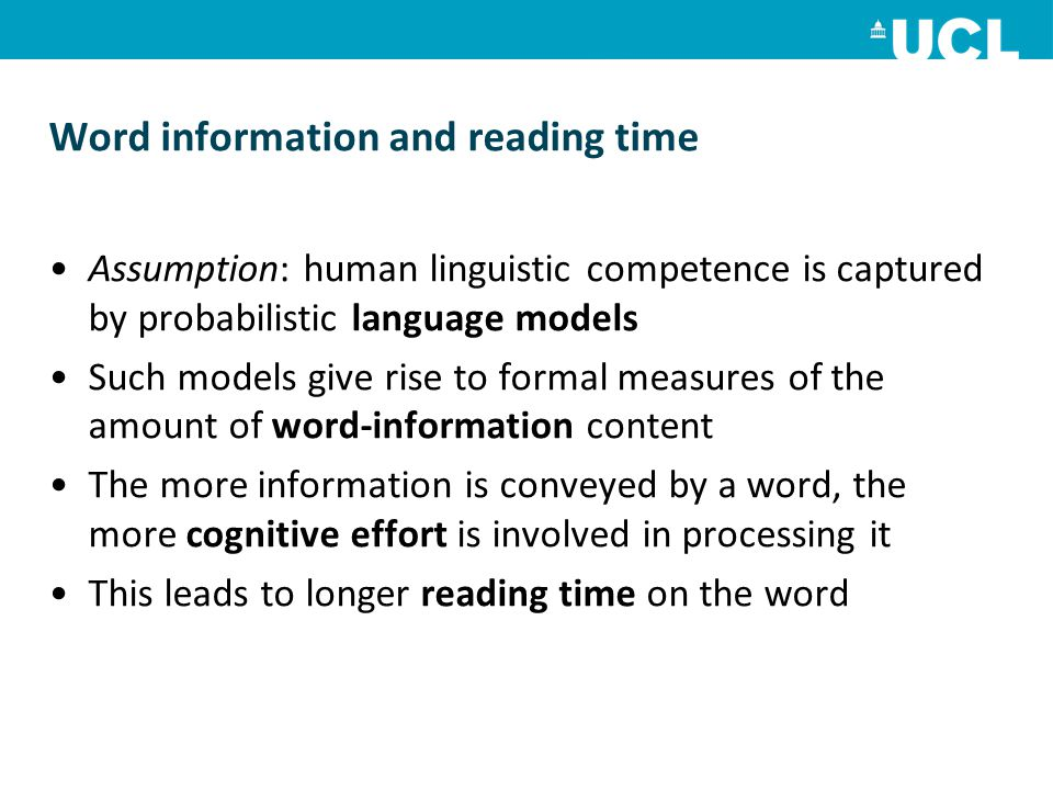 Word information and reading time