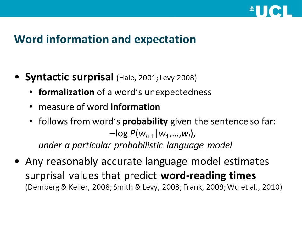 Word information and expectation