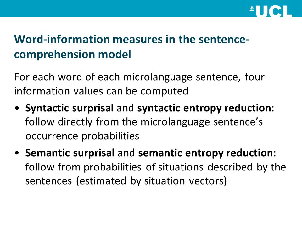 Word-information measures in the sentence-comprehension model