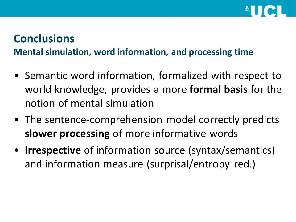 Conclusions Mental simulation, word information, and processing time