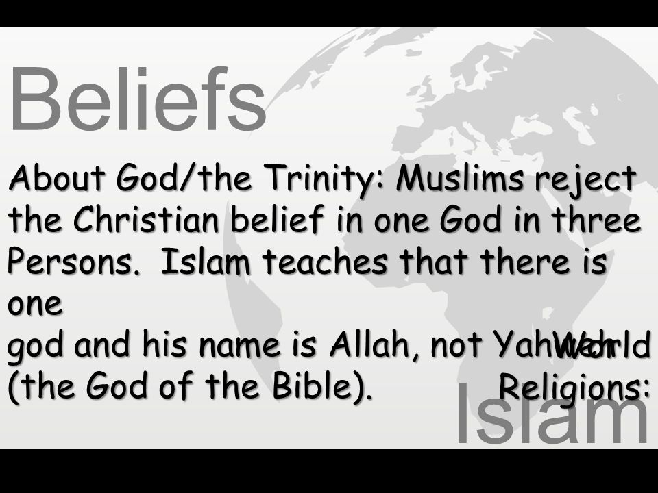 Beliefs Islam About God/the Trinity: Muslims reject