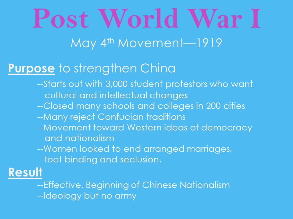 Post World War I May 4th Movement—1919 Purpose to strengthen China