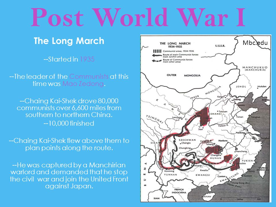 Post World War I The Long March Mbc.edu --Started in 1935