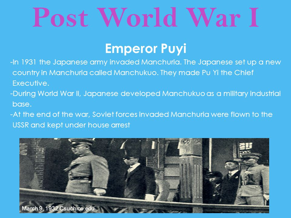 Post World War I Emperor Puyi