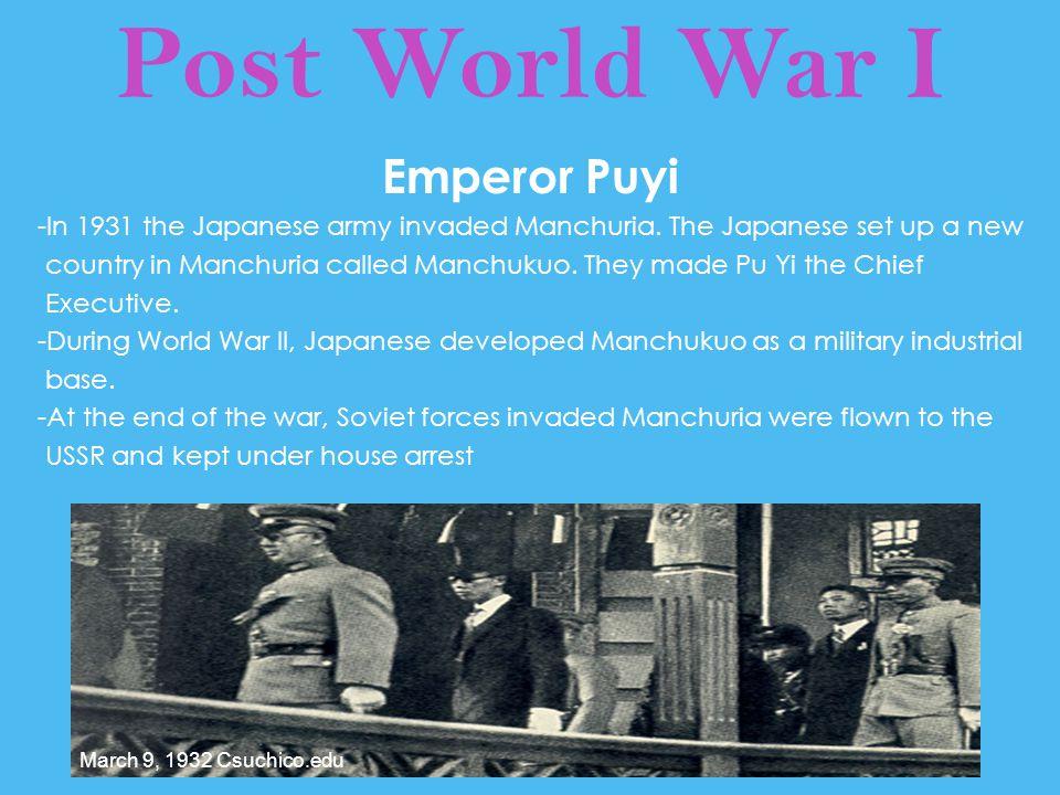 Post World War I Emperor Puyi