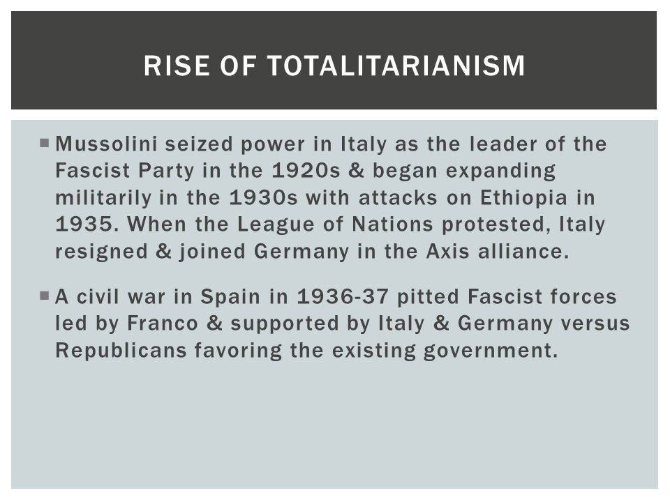 what led to the rise of totalitarian leaders after world war i The depression and the rise of totalitarianism during the trauma of world war i and the great depression led to the leaders such as.