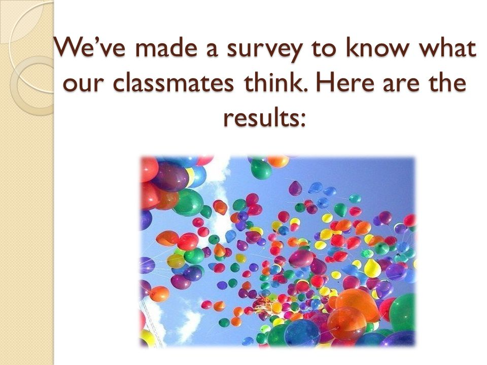 We've made a survey to know what our classmates think