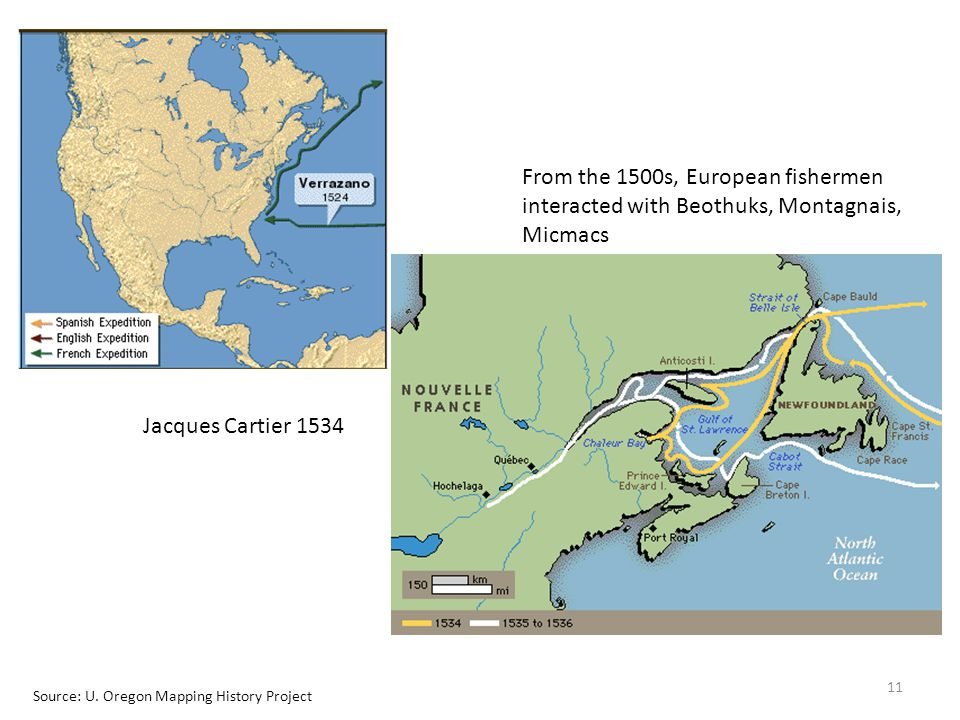 From the 1500s, European fishermen interacted with Beothuks, Montagnais, Micmacs