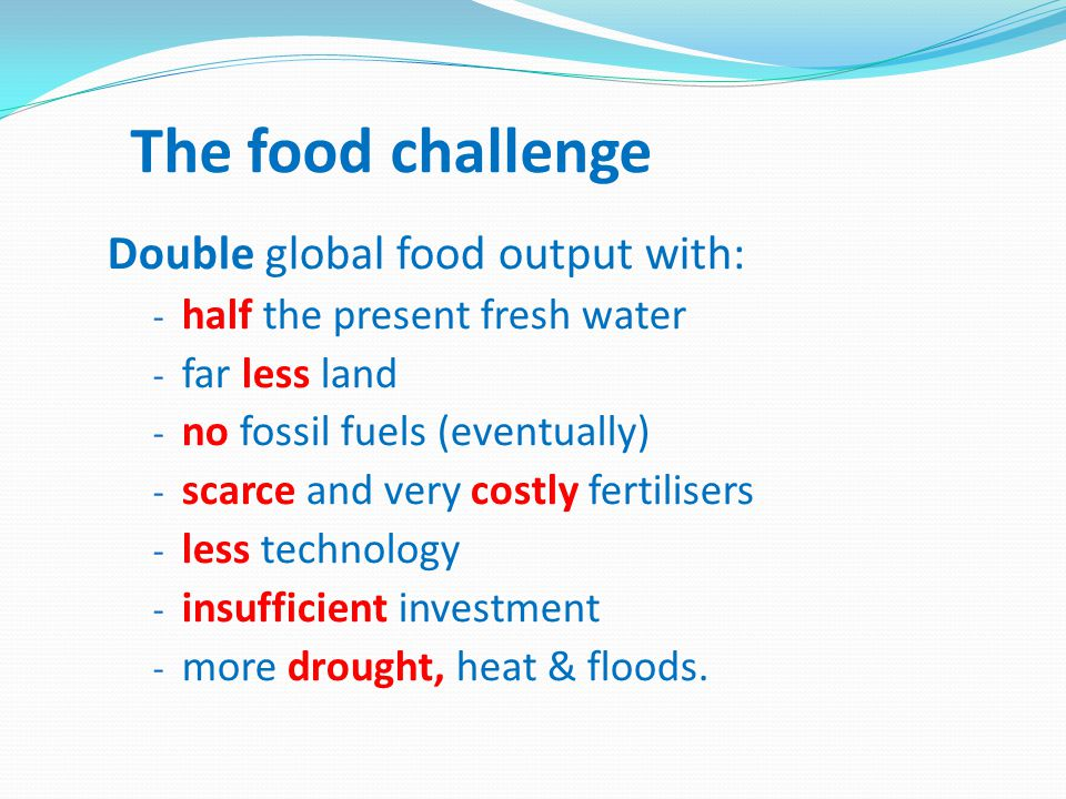 The food challenge Double global food output with: