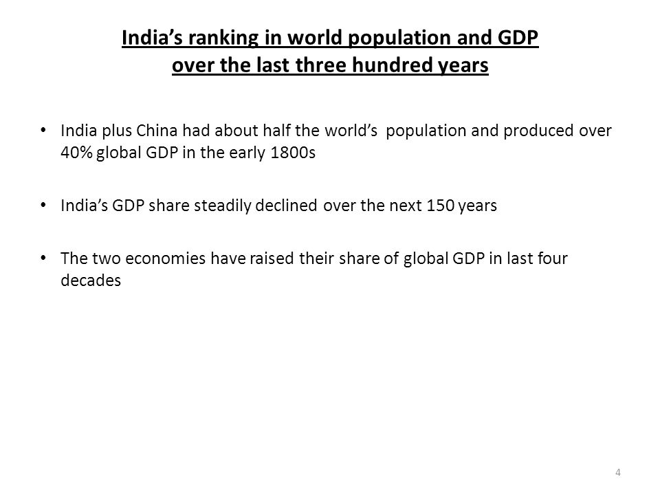 India's ranking in world population and GDP over the last three hundred years