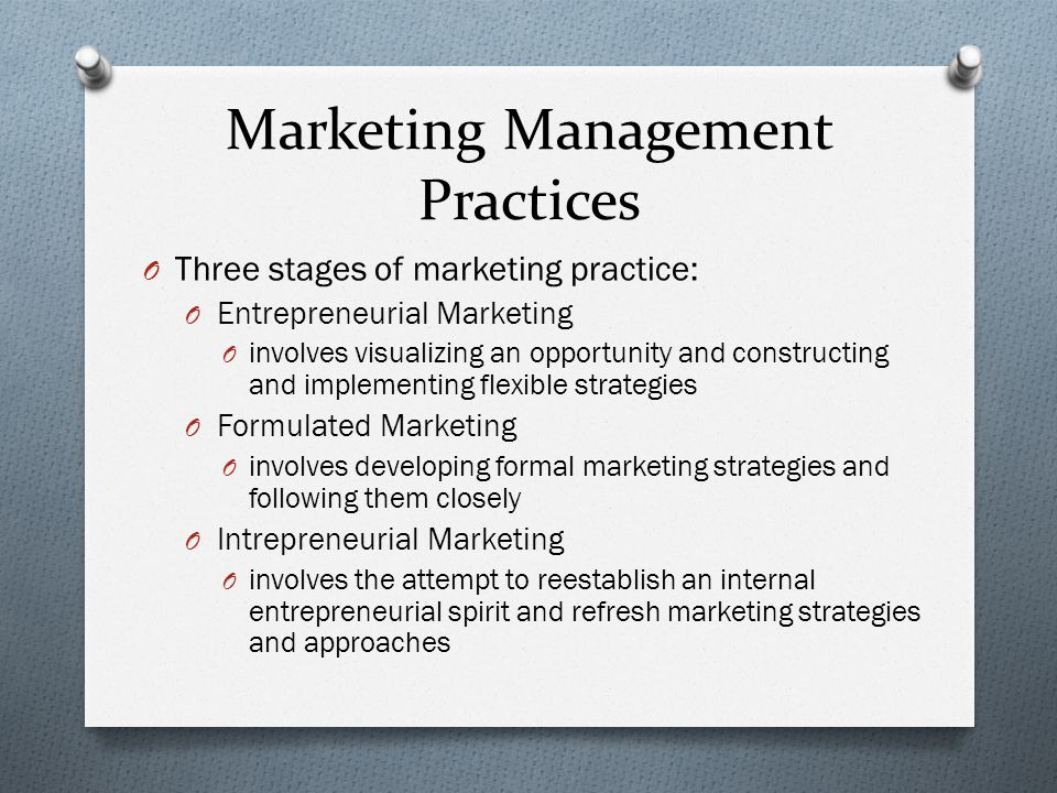 Marketing Management Practices