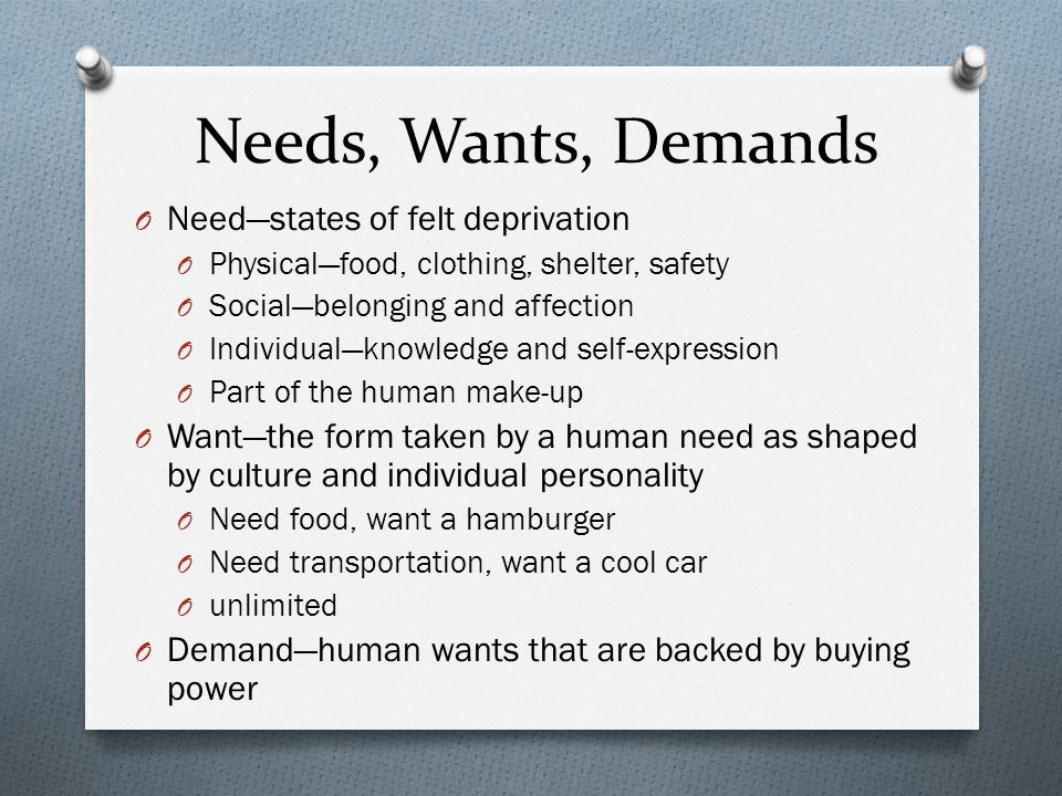 Needs, Wants, Demands Need—states of felt deprivation