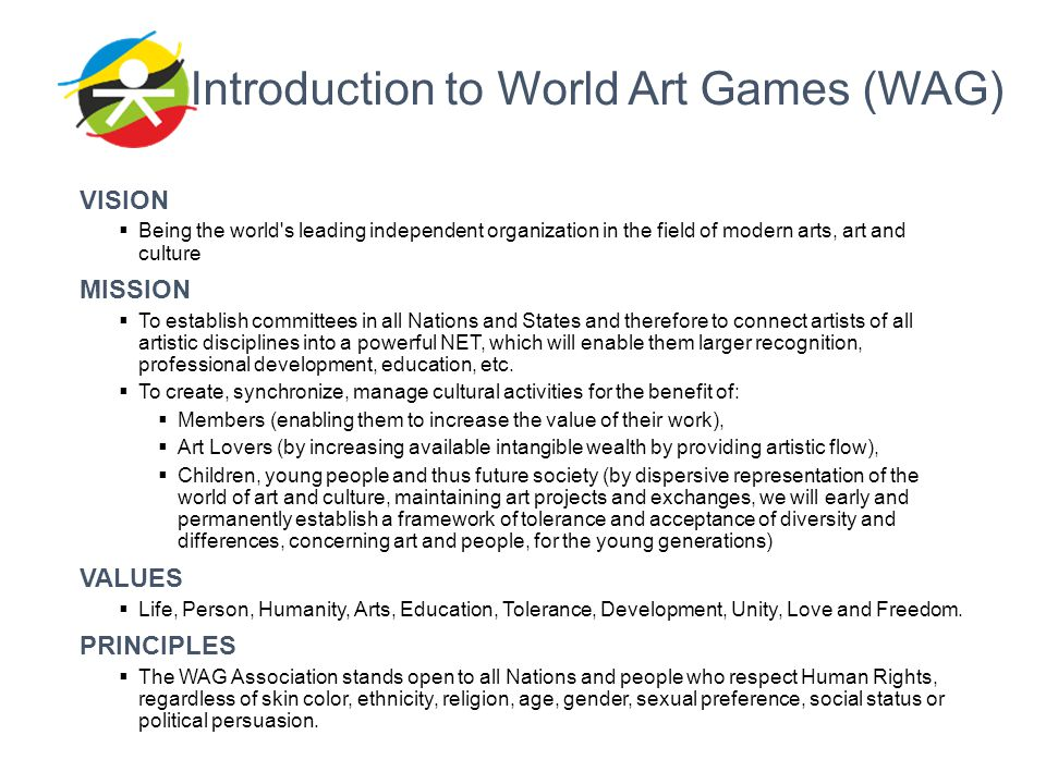 Introduction to World Art Games (WAG)