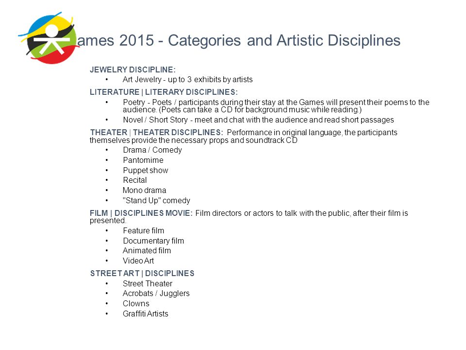 Games 2015 - Categories and Artistic Disciplines