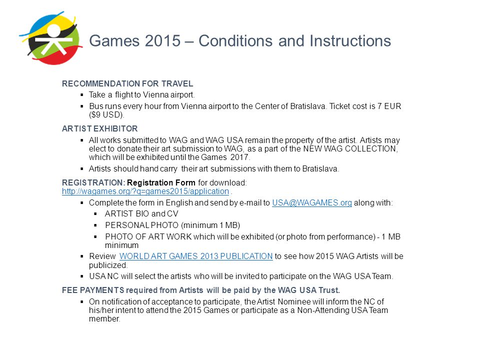 Games 2015 – Conditions and Instructions