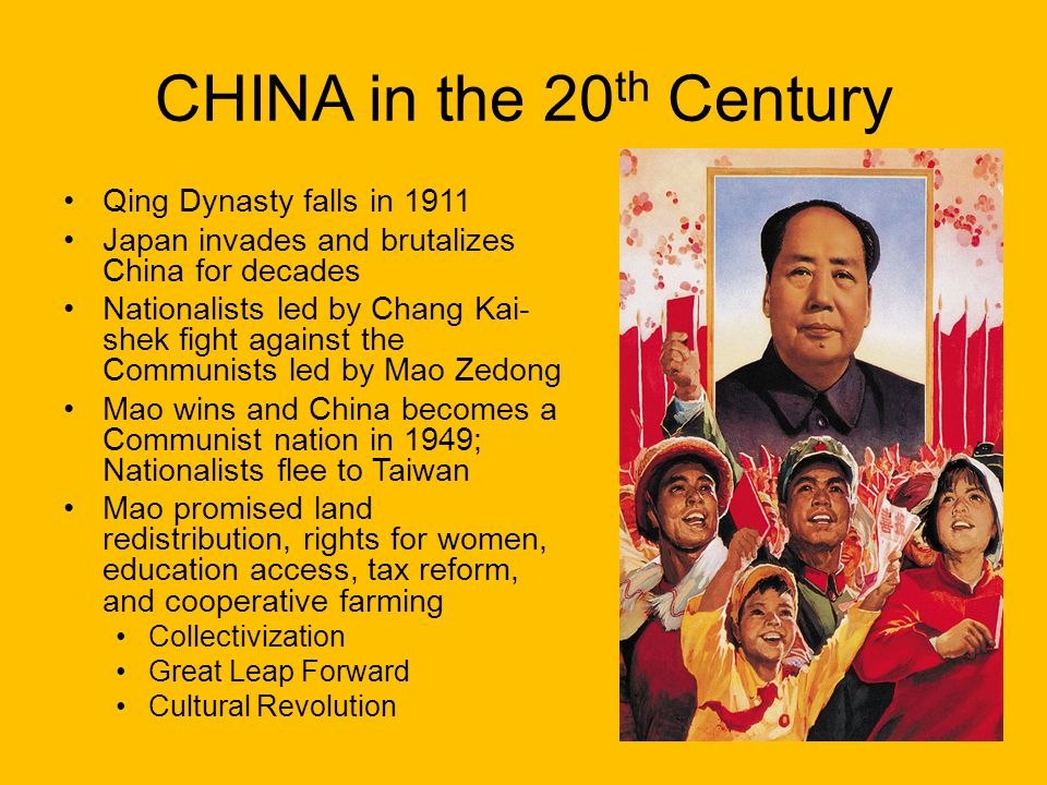 CHINA in the 20th Century Qing Dynasty falls in 1911