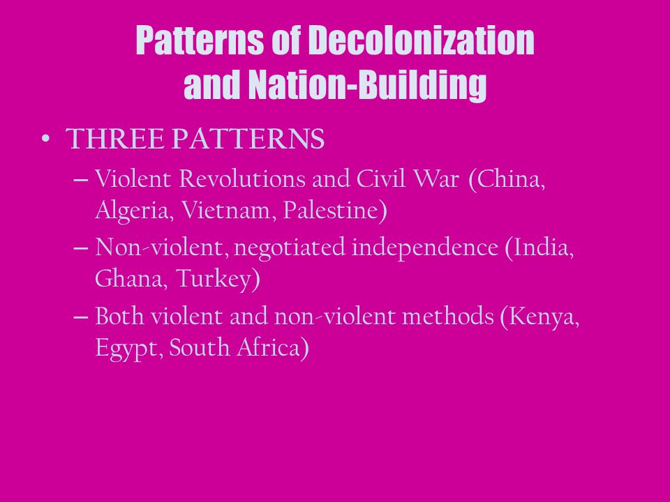 Patterns of Decolonization and Nation-Building