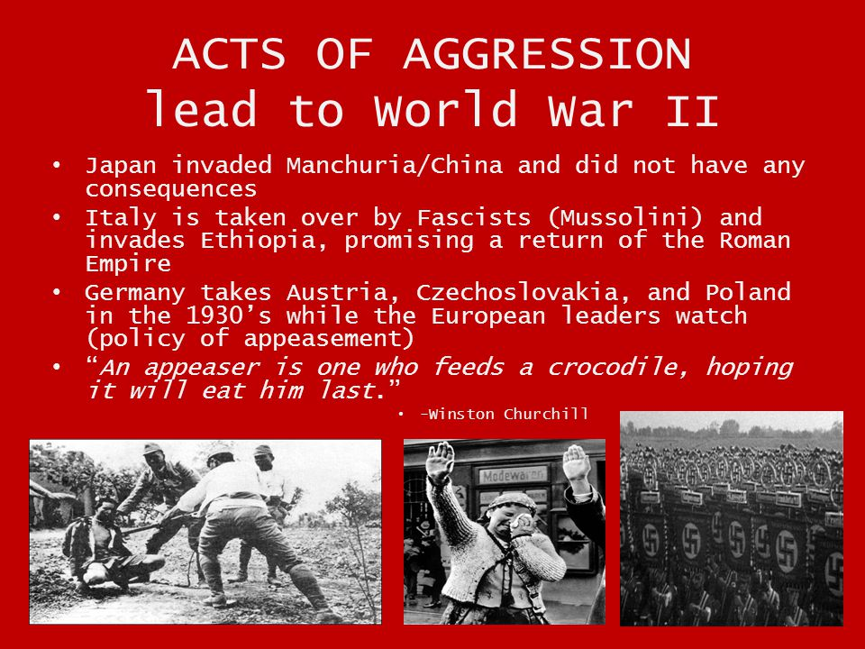 ACTS OF AGGRESSION lead to World War II