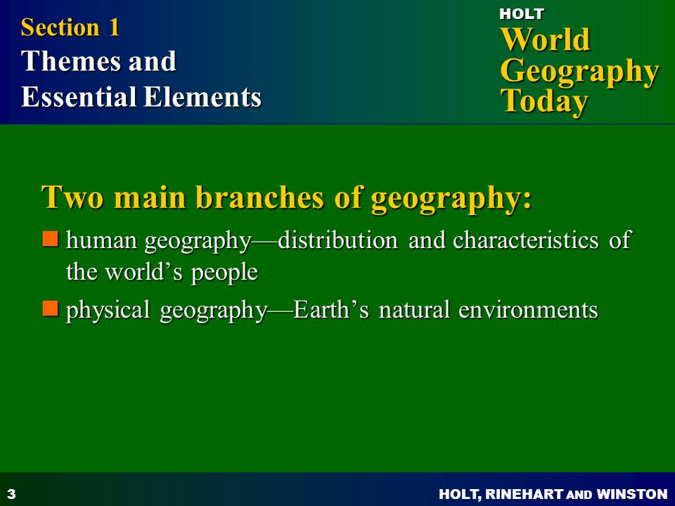 Two main branches of geography: