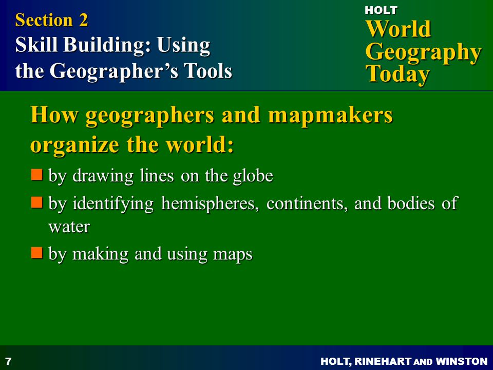 How geographers and mapmakers organize the world: