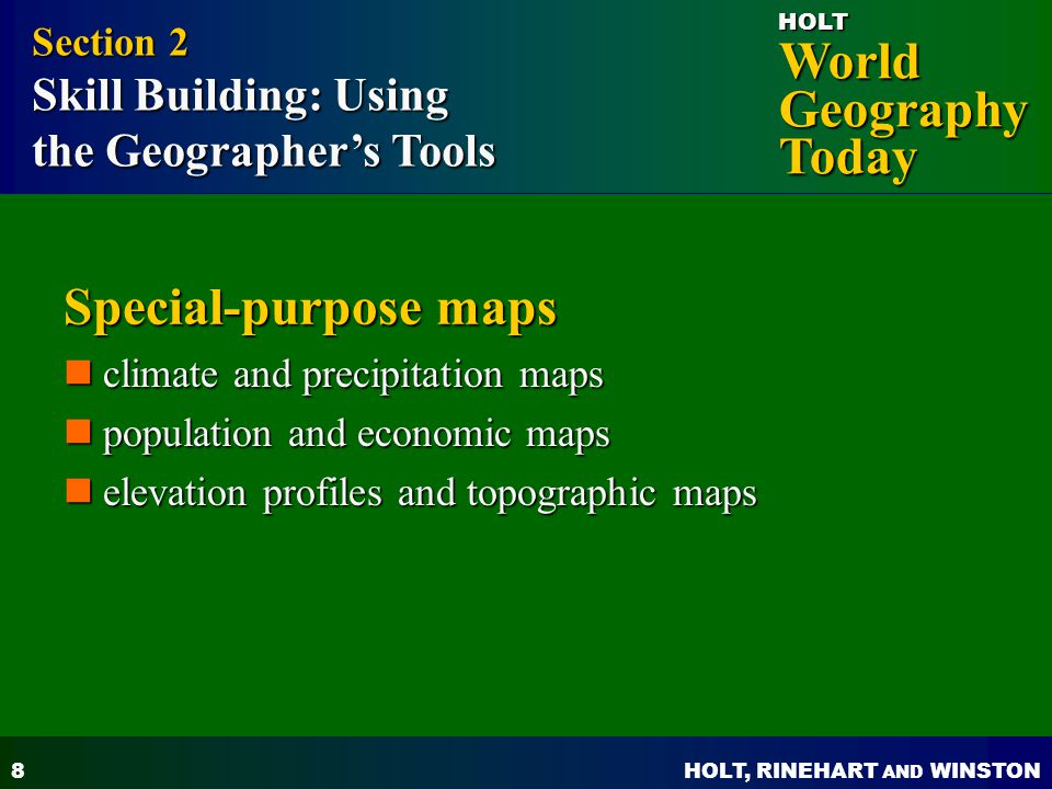 Special-purpose maps the Geographer's Tools