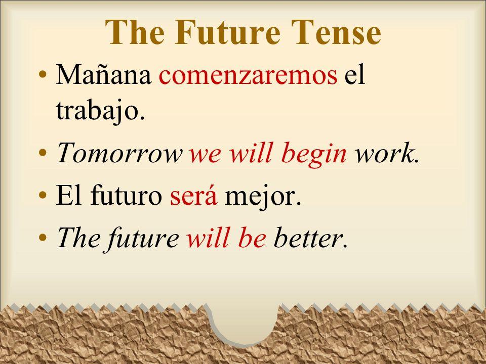 The Future Tense Mañana comenzaremos el trabajo.