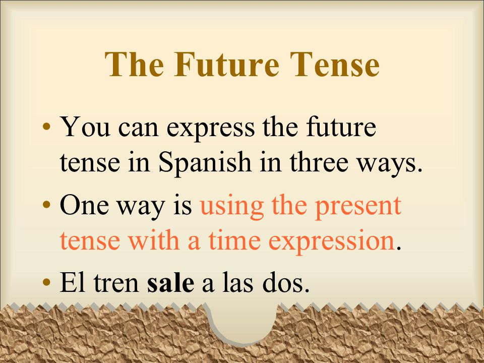 The Future TenseYou can express the future tense in Spanish in three ways. One way is using the present tense with a time expression.