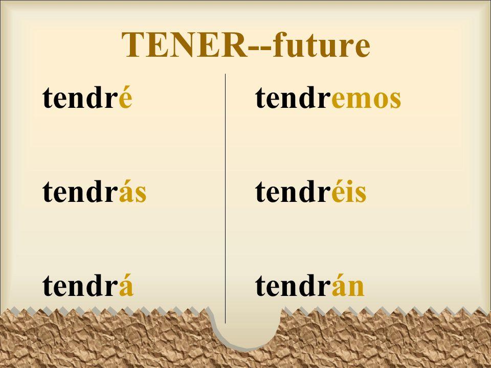 TENER--future tendré tendrás tendrá tendremos tendréis tendrán