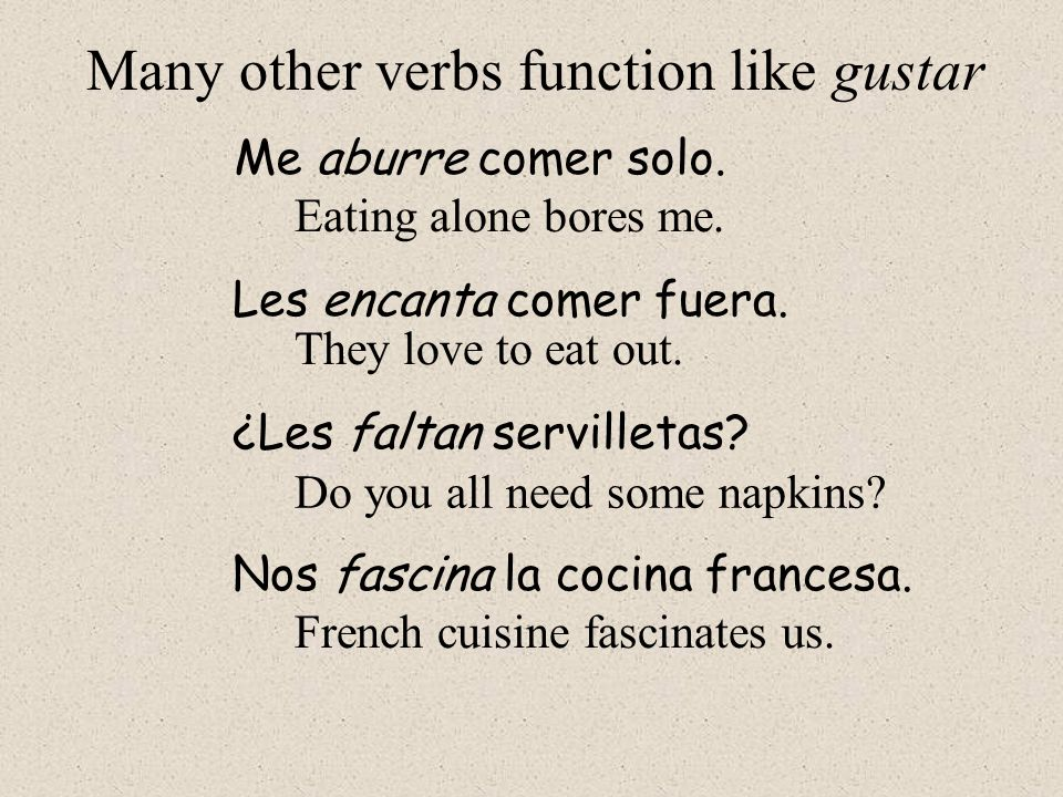 Many other verbs function like gustar
