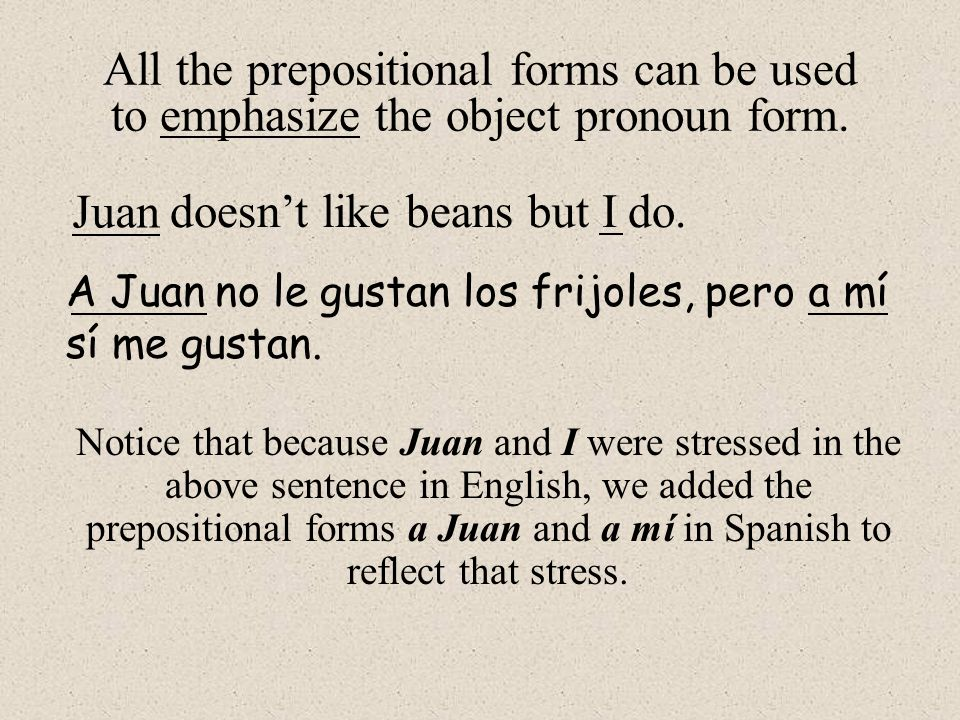 All the prepositional forms can be used to emphasize the object pronoun form.